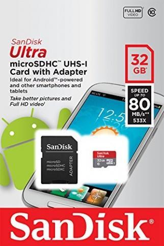 Карта microSDHC 32GB SanDisk Ultra class 10 UHS-I 48 MBs (адаптер SD