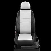 Модельные чехлы эко кожа Volkswagen POLO V (2010-) черные-белые