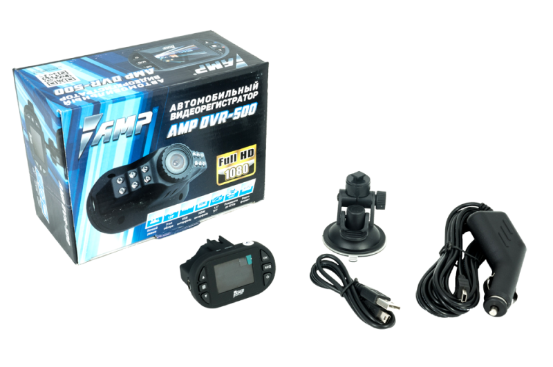 Видеорегистратор AMP DVR-500 (FullHD 1920x1080)