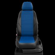 Авточехлы экокожа цвет синий-чёрный