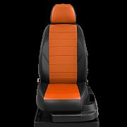 Авточехлы экокожа цвет оранжевый-чёрный